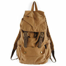 S3M Men's Vintage Canvas Leather Hiking Travel Military Backpack Messenger Tote