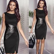 Sexy Women Leather Sleeveless Slim Fashion Bodycon Party Cocktail Evening Dress