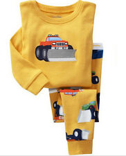 Kids Baby Cotton Underwear Tractor Pattern Pajamas Tracksuits Sets Clothes 1-7Y