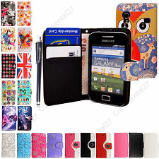 For Samsung Galaxy Ace S5830i S5839i Printed Book Wallet PU Leather Case+Stylus