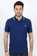 Nwt FRED PERRY Blue Logo Polo Golf T-Shirt Slim Fit
