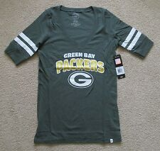 NFL Green Bay Packers 47 Brand V-neck T Shirt Jersey Style Stripe Sleeves Womens