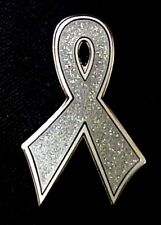 Silver Gray Awareness Ribbon Pin Cancer Cause Sparkling Bling PW1610 Brain New