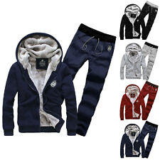 HOT Men's Sport Suit Two-piece Set Track Suits Fleece Hoodie Coat Jacket + Pants