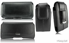 CELL PHONE BLACK LEATHER POUCH WITH BELT CLIP HOLSTER CASE FOR IPHONE 6