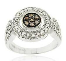 Affordable Look! .925 Sterling Silver Chocolate Brown Diamond Cluster Ring .06ct