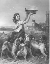 Scotland Highlands, PRETTY FARM GIRL & DOGS ~ Old 1871 Art Print Engraving