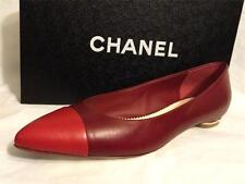 CHANEL 13B Red Leather Metal Heel Pointed Cap Toe Ballerina Flats Shoes $795