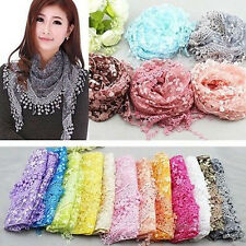 New Women Rose Floral Lace Tassel Knit Mantilla Triangle Hollow Wrap Scarf Shawl