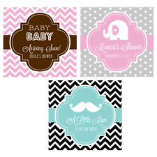 """20 Personalized MOD Baby Shower 2"""" Square Favor Labels Or Tags"""