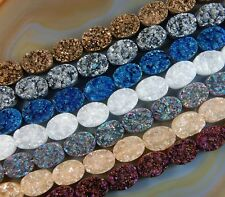 Druzy Quartz Agate Side Drilled Flat Back Connector Cabochon  Beads 10x14mm