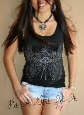 PRETTY VOCAL CRYSTAL BLACK CROSS SILHOUETTE WINGS TUNIC TANK TOP SHIRT S M L XL
