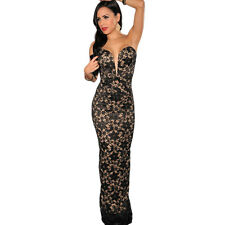 New Sexy Slim Lace Nude-Illusion V-Neck Strapless Women's Gown Party Dress Black