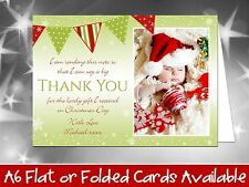 10 Personalised Christmas Thank You Cards Notes Bunting Silver Snowflakes Photo