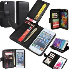 Credit ID Card Holder Flip Cash Wallet Purse Leather Case Cover Stand For Phone