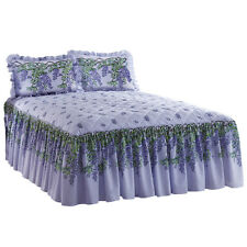 Collections Etc Purple Wisteria Floral Quilted Bedspread