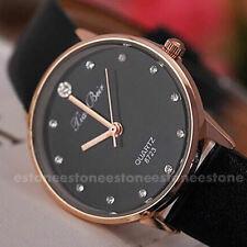 Women New Fashion Leather Band Crystal Imitation Diamond Quartz Wrist Watch