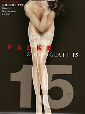 Falke Stay-up, Strapless Stocking Silky-smooth 15, Wide Lace New in OP