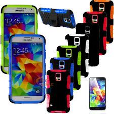 Armor Rugged Rubber Kickstand Skin Hard Case Cover For Samsung Galaxy S5 V i9600