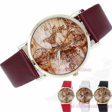 Retro Classic World Map Watch Faux Leather Analog Quartz Women's Wrist Watch
