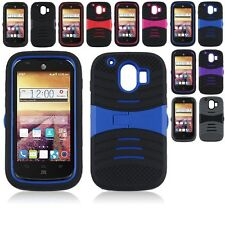 For ZTE Compel Z830 Hybrid Hard Armor Kickstand Case Skin Phone Cover Accessory