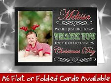 10 Personalised Christmas Greeting Cards Thank You Notes Chalkboard Own Photo