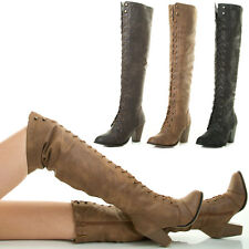 New Lace Up Stack Chunky Med Heel Over The Knee Thigh High Combat Military Boots