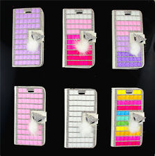 Bling Crystal Rhinestone Flip Photo Frame Leather Cover Case For iphone 4 5 6