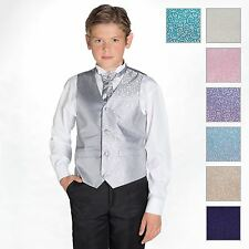 Boys Swirl Waistcoat and Cravat Suit Set With Black Trousers, Page Boy Suits