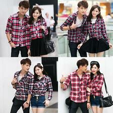 Fashion Women Men Shirt Plaid Check Turn-down Collar Lovers Couples Blouse Tops