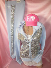 Victorias Secret RARE Track Suit Hoodie Sweatshirt Sweatpants SEQUIN BLING PiNK