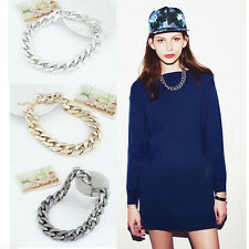 Fashion Link Celebrity Style Aluminium Acrylic Choker Chunky Bib Chain Necklace