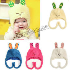 Cute Unisex Rabbit Ears Baby Winter Warm Caps Boys Hats Girls Kids Earflap New