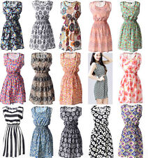 Vintage Flower women short dress sleeveless casual summer chiffon women dress
