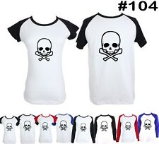 Punk Pirate Death Skull Design Long Short Sleeve Couple T-Shirt Graphic Tee Tops