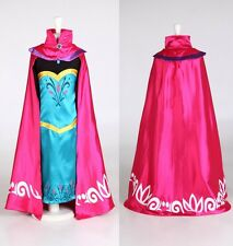 Snow Queen Elsa Coronation Day Party Dress & Cape Girls Fancy Cosplay Costume