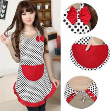 New Cute Women Kitchen Restaurant Bib Cooking Aprons With Pockets BowKnot Gift