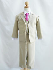 Baby Toddler Teen Khaki/Taupe/white and color long tie formal suit wedding party