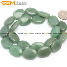 "Natural Stone Green Aventurine Jade Beads For Jewelry Making 15"" Cabochon Oval"