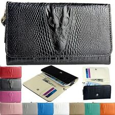 Black Wallet Leather Handbag Phone Case Cover for Galaxy S3 S4 iPhone 4 4S 5 5S