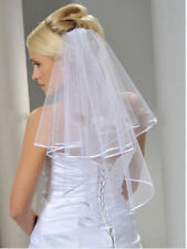 new 2t white Wedding Bridal veil elbow Length Satin Edge with comb
