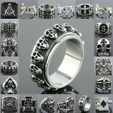 Heavy Route 66 Freemasonry Spade Skull Head Cross Stainless Steel Finger Ring