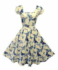 New Vtg 1950s style Blue Cream Butterfly Rockabilly Pin-up Party Swing Dress