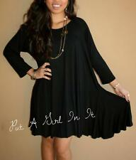 PLUS SIZE LITTLE BLACK BOHO BABYDOLL 3/4 SLEEVE FULL SKIRT MINI DRESS 1X 2X 3X
