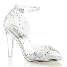 Clear Glass Slippers Cinderella Bridal Wedding Prom Heels Shoes size 10 11 12