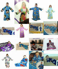 KIDS BOYS GIRLS CHARACTER SOFT WARM SLEEVED FLEECE BLANKETS SNUGGY - 16 DESIGNS