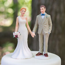 Woodland Bride And Groom Romantic Wedding Cake Topper WITH Custom Hair Colors