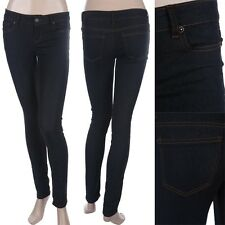 Mid Rise Skinny Denim Jeans Zip Fly Button Closure 5 Pockets Dark Wash 0 to 13