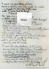 BEATLES John Lennon Handwritten Lyrics 'A Day In The Life'