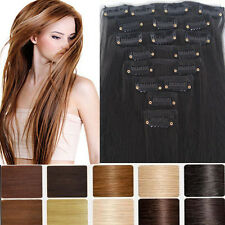 Real Thick 145g Long Full head Clip in on Hair Extensions Extention Brown hg83